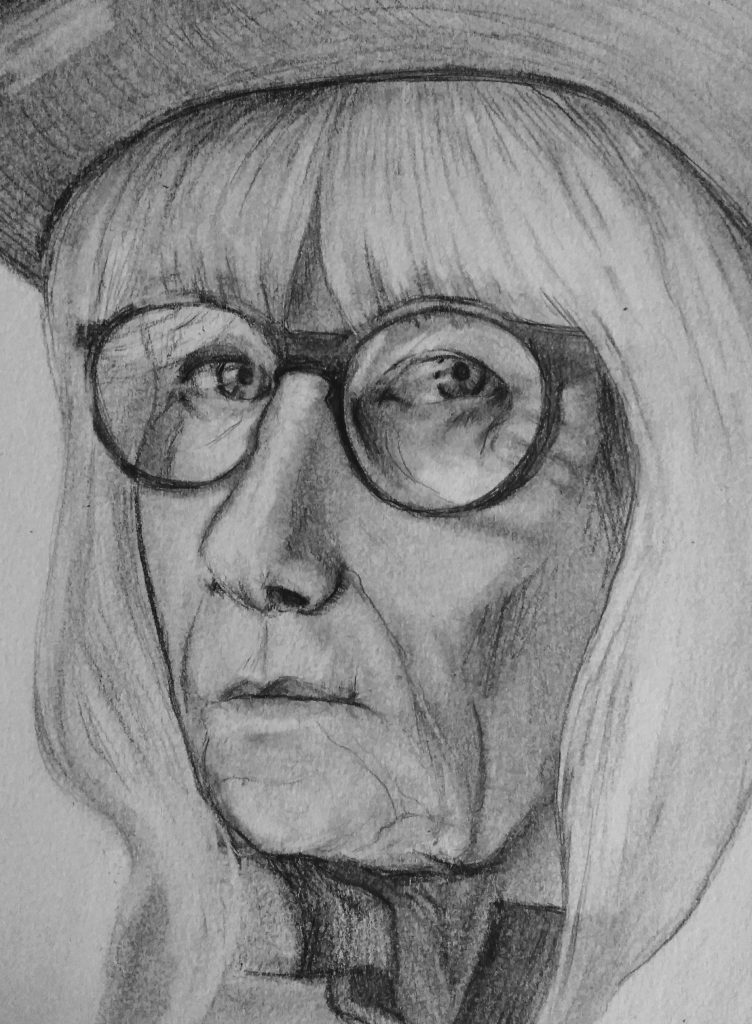 Name of artwork, Andrea. By Alyssa Deabenderfer. Picture of older woman wearing glasses, looking at viewer.