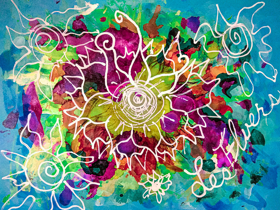 Rainbow Abstract Alcoholic ink splatters. Flowers drawn with white out in abstract manner. Main flower in center, has what seems to be an eyeball in center of flower.